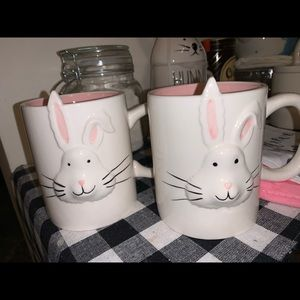 Two Magenta Easter Bunny Mugs